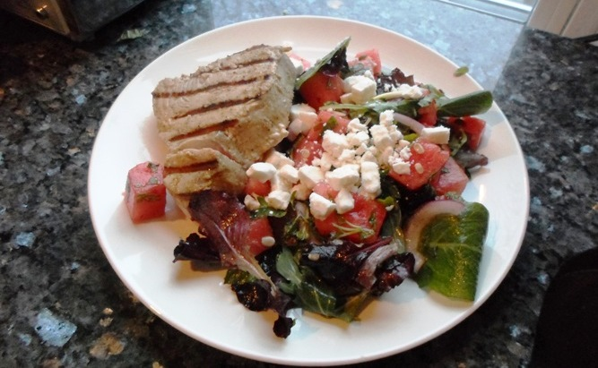 Summer Eats — Grilled Tuna Steaks with Watermelon Salad
