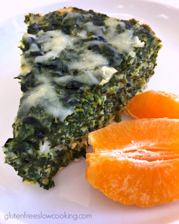 Slow cooker spinach and three cheese crustless quiche