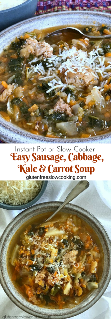 Easy Sausage, Cabbage, Kale & Carrot Soup