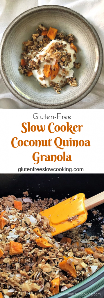 Pinterest images of slow cooker coconut quinoa granola in bowl and in slow cooker