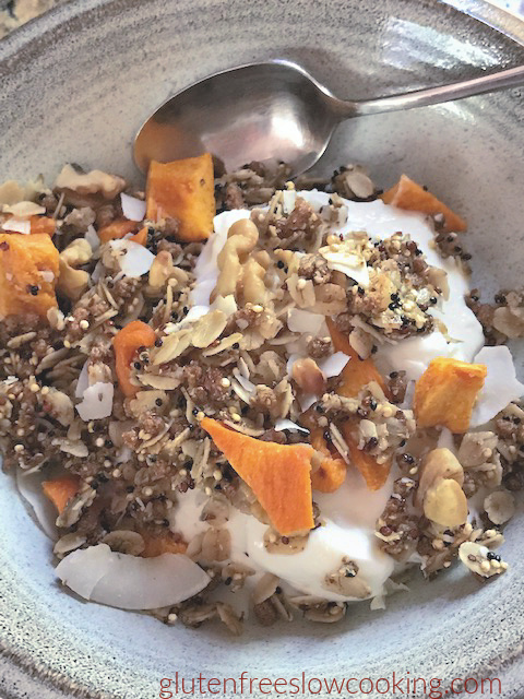 bowl of coconut quinoa granola with spoon